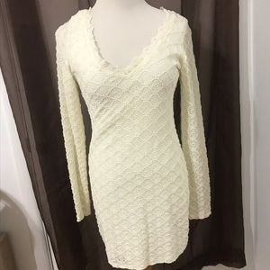 White lace cocktail dress. Body con style